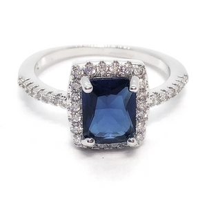 CLEARANCE - Bella Notte Radiant Emerald Cut Sapphire Zirconia Halo Ring