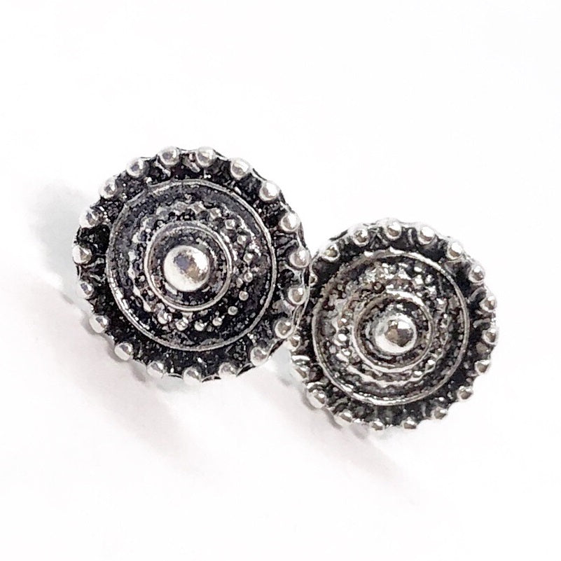 Bohemia Silver Shield Button Stud Earrings