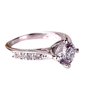 Vintage Filigree Channel Set Round CZ Solitaire Engagement Ring For Woman