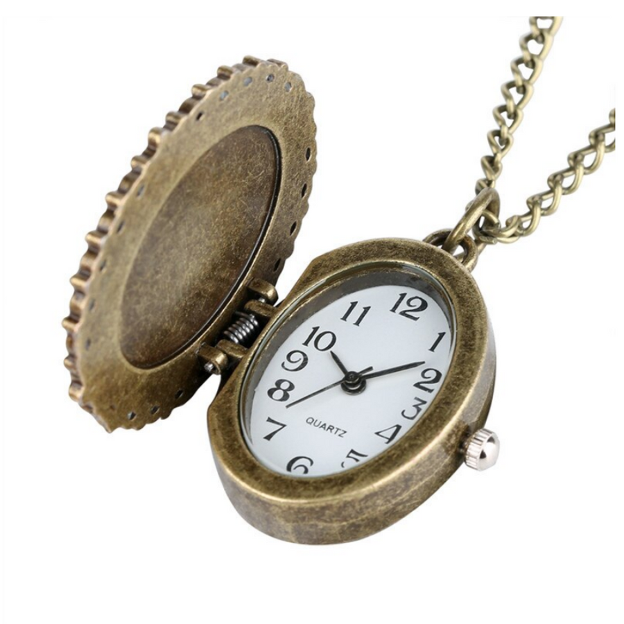 Virgin Mary Embraces A Child Vintage Style Antique Bronze Oval Pocket Watch Necklace