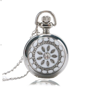 White Pearl Flower Vintage Style Mini Pocket Watch Necklace