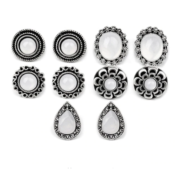 ON SALE - Mix & Match Five Piece Vintage Opal Stud Earring Ensemble