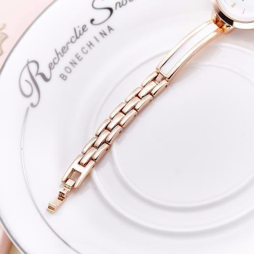 White Enamel Ladies Cup Chain Bracelet Watch