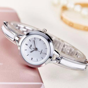 ON SALE - White Enamel Ladies Cup Chain Bracelet Watch
