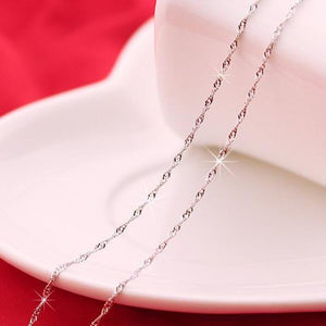 18 inch White Gold Plated Singapore Chain Necklace