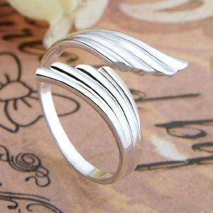 Silvery Wings Adjustable Wrap Ring