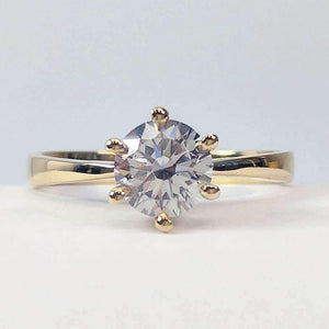Yves 1CT Round IOBI Lab Created Diamond Solitaire 18K Yellow Gold Ring