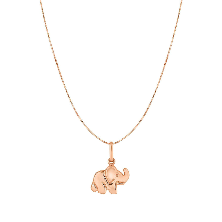 Elephant 10K Gold Rose Shiny Pendant Necklace 18 inches Box Chain For Woman