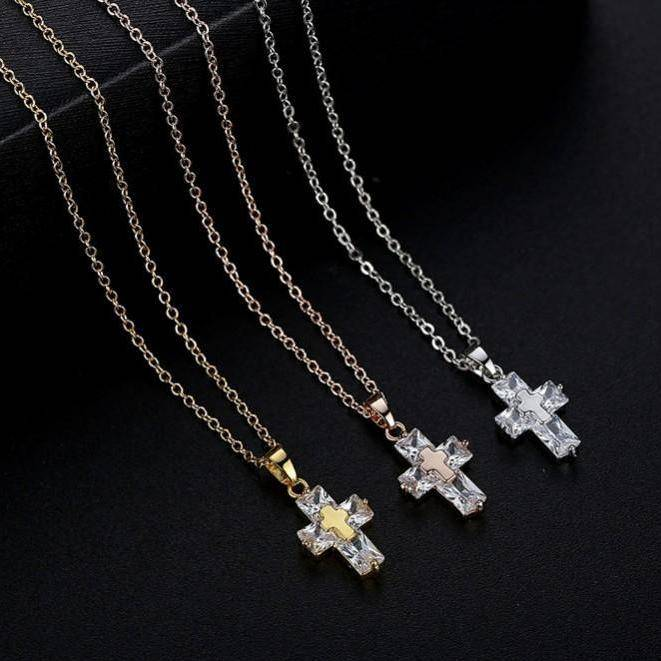 Diamond Dust Zirconia Cross Necklace