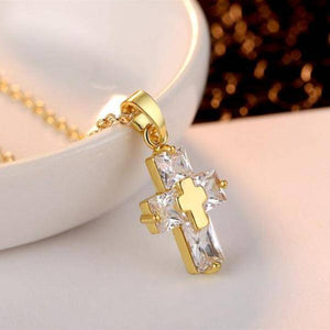 ON SALE - Diamond Dust Zirconia Cross Necklace