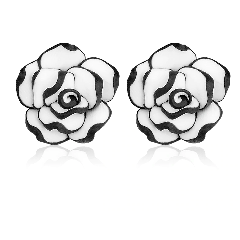Feshionn IOBI Earrings ON SALE - Black and White Rose Hand Crafted Clay Stud Earrings