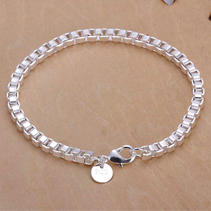 Box Chain 4Mm Link Silver Bracelet for Woman