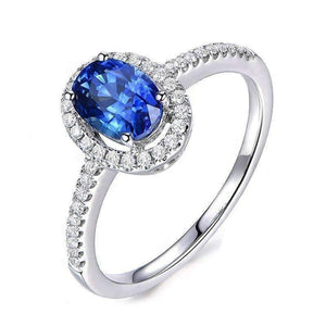 Cécile En Bleu 1.25CT Oval Petite Pavé Halo IOBI Simulated Diamond Ring