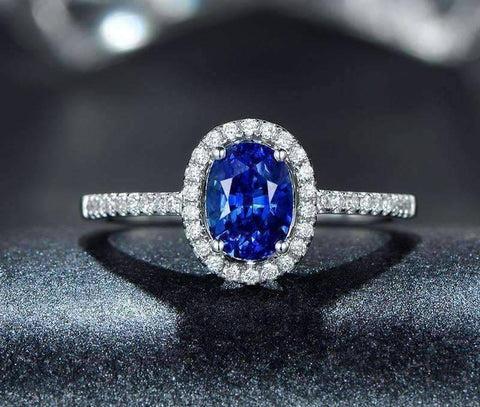Cécile En Bleu 1.25CT Oval Petite Pavé Halo IOBI Cultured Diamond Ring