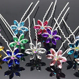 Fun Flowers Crystal and Rhinestone Silver Plated Hair Pins