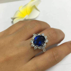 Coralie En Bleu 4CT Oval Floral Halo IOBI Cultured Diamond Ring