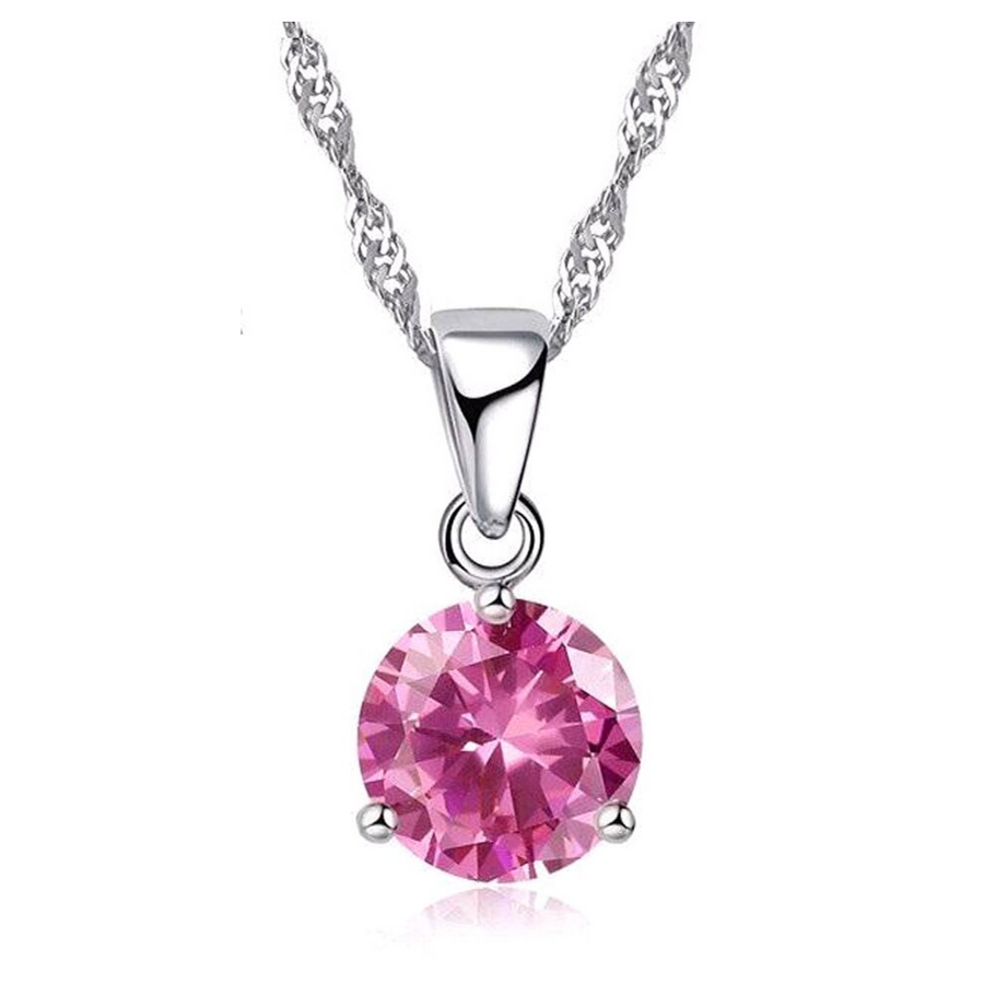 Crystal Solitaire Round Cut Necklace Pendant