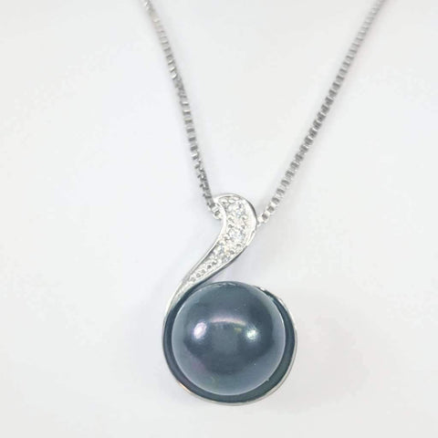 CZ Wave Tahitian Black Genuine Freshwater Pearl Necklace