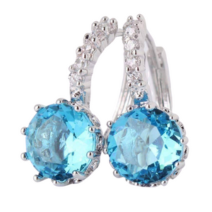 14K White Gold Plated Setting Topaz CZ Solitaire Hoop Earrings For Woman