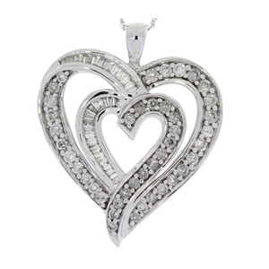 1.00 TCW Genuine Diamond Heart Love Pendant Necklace 10KT White Gold For Woman