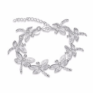 Dragonfly Chain Sterling Silver Bracelet