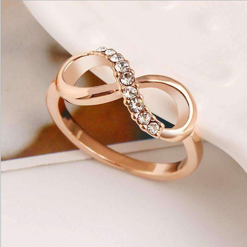 Endless Light Pavé CZ Rose Gold Infinity Symbol Ring