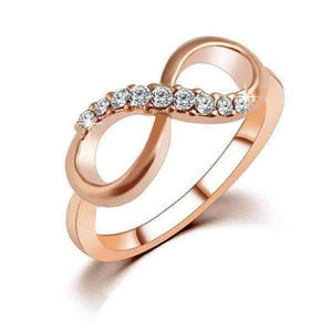 Endless Pink Pavé CZ Rose Gold Infinity Symbol Ring