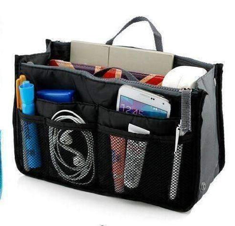 "Feshionn IOBI accessories Black and Gray ""Bag In Bag"" All Purpose Multi-Section Expandable Tote - 5 Colors to Choose!"