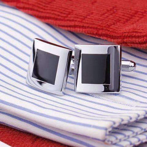 Feshionn IOBI accessories Black Square Formal Introduction Stainless Steel & Black Enamel Square Flip Cufflinks