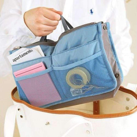 "Feshionn IOBI accessories Blue and Gray ""Bag In Bag"" All Purpose Multi-Section Expandable Tote - 5 Colors to Choose!"