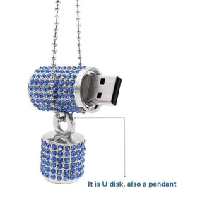 Feshionn IOBI accessories Denim Blue ON SALE - 8G Crystal Encrusted USB Flash Drive Memory Stick