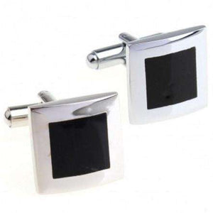 Feshionn IOBI accessories Formal Introduction Stainless Steel & Black Enamel Square Flip Cufflinks