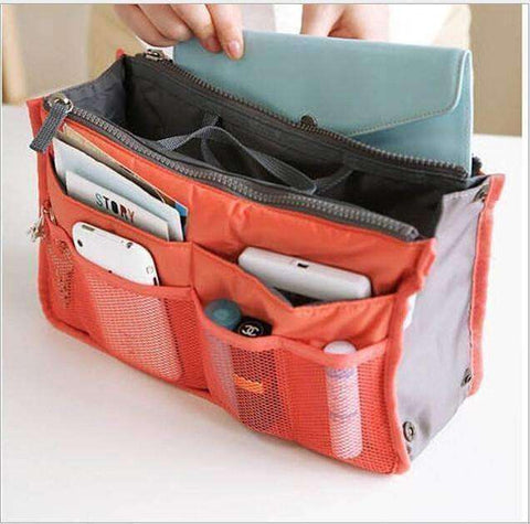"Feshionn IOBI accessories Orange and Gray ""Bag In Bag"" All Purpose Multi-Section Expandable Tote - 5 Colors to Choose!"
