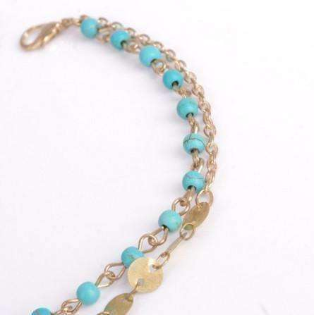 Feshionn IOBI Anklets Turquoise Double Chain Turquoise Bead and Gold Coin Ankle Bracelet