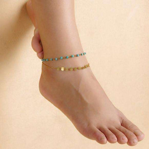 Feshionn IOBI Anklets Double Chain Turquoise Bead and Gold Coin Ankle Bracelet