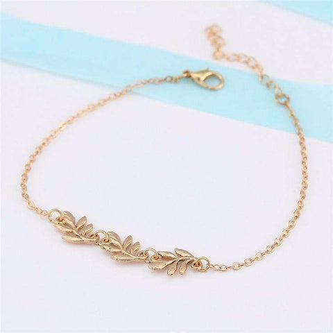 Feshionn IOBI Anklets Falling Leaves Delicate Ankle Bracelet in Silver or Gold