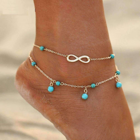 Feshionn IOBI Anklets Gold Chain Infinity Beads Double Ankle Bracelet In Silver or Gold