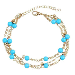 Multi-Layer Turquoise Bead Ankle Bracelet In Silver or Gold