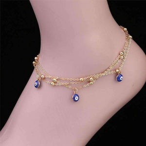 Feshionn IOBI Anklets Gold Chain ON SALE - Evil Eye Layered Ankle Bracelet In Silver or Gold