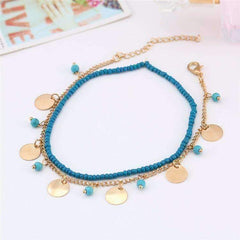 Turquoise Chain and Bead Double Ankle Bracelet In Silver or Gold