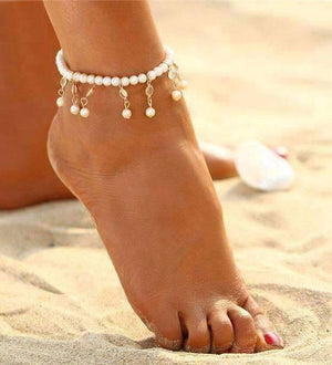 Feshionn IOBI Anklets Gold Pearl and Crystal Drop Ankle Bracelet Accented In Silver or Gold