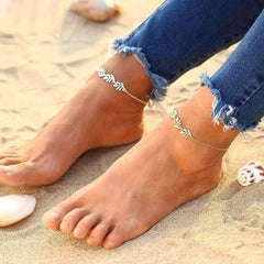 Feshionn IOBI Anklets Gold Tone Falling Leaves Delicate Ankle Bracelet in Silver or Gold