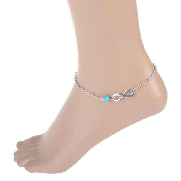 anklet bracelet ankle sea shop blue beaded leg on wanelo by turtle black silver sky