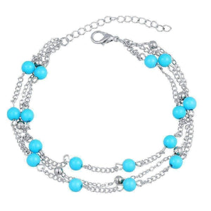 Feshionn IOBI Anklets Multi-Layer Turquoise Bead Ankle Bracelet In Silver or Gold