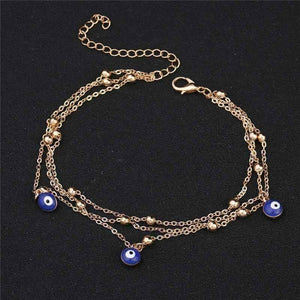Feshionn IOBI Anklets ON SALE - Evil Eye Layered Ankle Bracelet In Silver or Gold