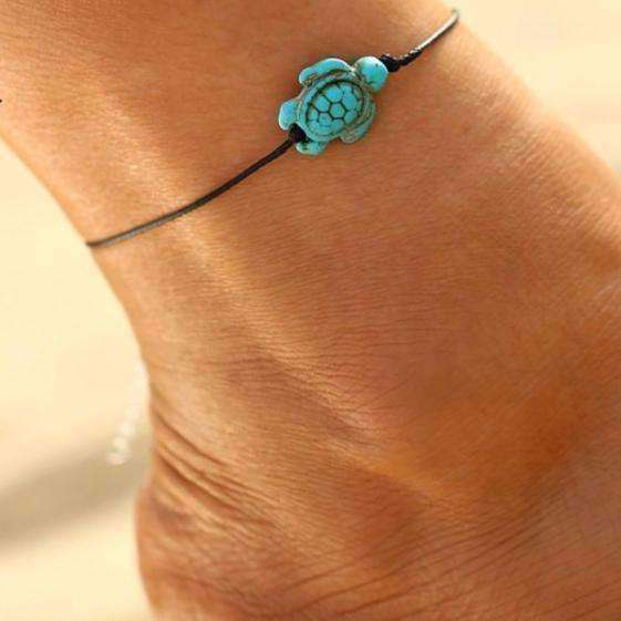 Feshionn IOBI Anklets Green ON SALE - Green Sea Turtle Turquoise Bead Anklet