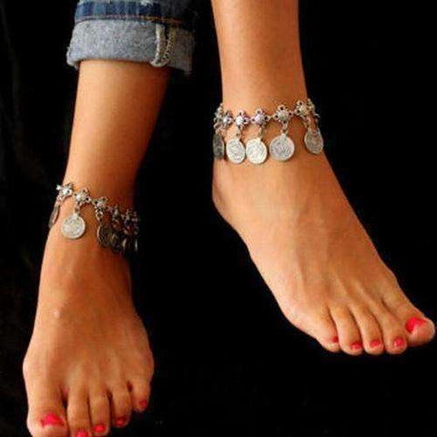 Feshionn IOBI Anklets ON SALE - Vintage Patina Gypsy Coin Dangling Chain Ankle Bracelet