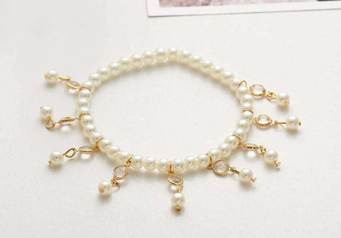 Feshionn IOBI Anklets Pearl and Crystal Drop Ankle Bracelet Accented In Silver or Gold