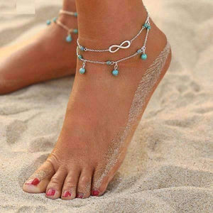 Feshionn IOBI Anklets Silver Chain Infinity Beads Double Ankle Bracelet In Silver or Gold