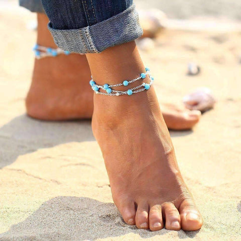Feshionn IOBI Anklets Silver Chain Multi-Layer Turquoise Bead Ankle Bracelet In Silver or Gold